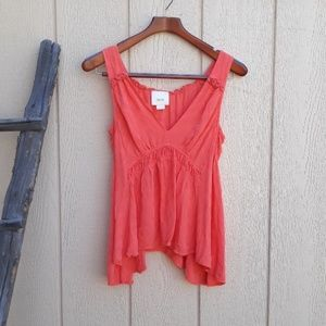 Maeve Tank Top Bretta Gathered Coral Vneck S